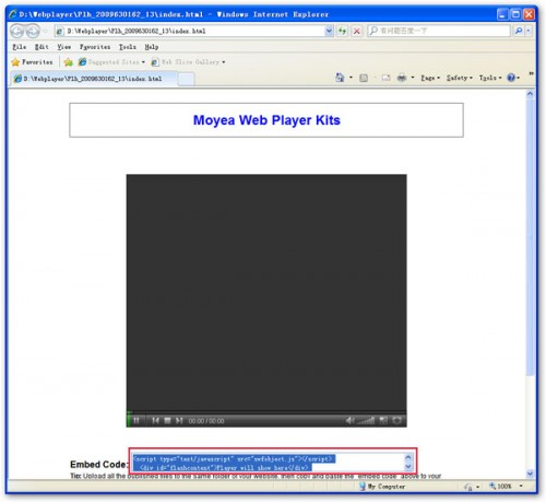 paste the generated code in MySpace profile