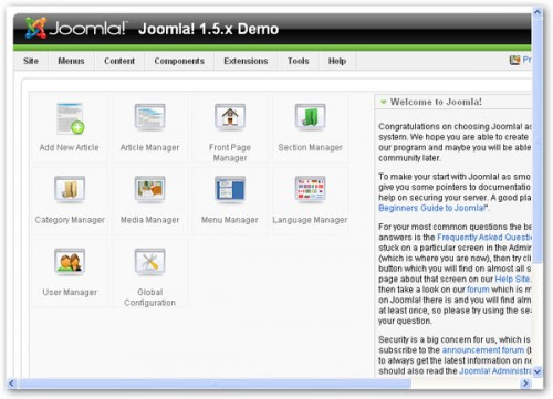 joomla! administrative backend
