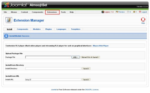 joomla! player module install success